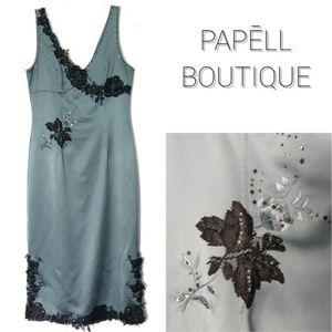 Lace Bead Embellished Satin Cocktail Dress EUC